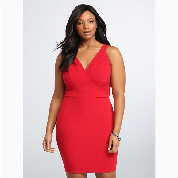 605ffc8a7863d Torrid Textured Body Con Red Cocktail Dress 16